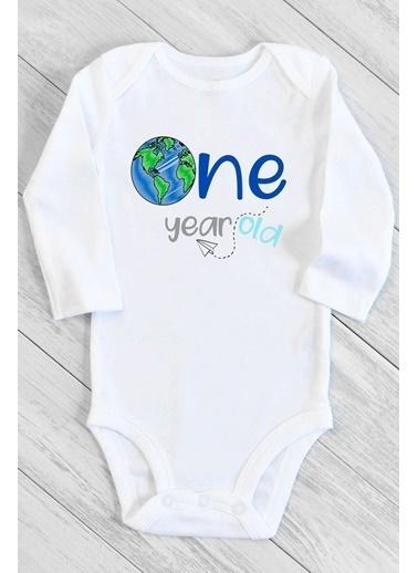 Happy Onesie Co 1 Yaş One Dünya Uzun Kol Çıtçıtlı Bebek Body  Beyaz